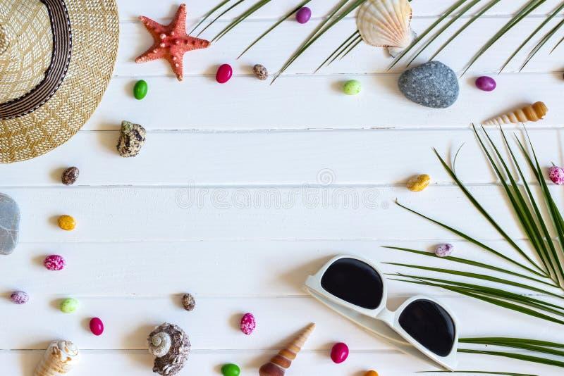 Accesorios del viajero, ramas de hoja de palma tropicales en el fondo de madera blanco con el espacio vacío para el texto Concept fotografía de archivo