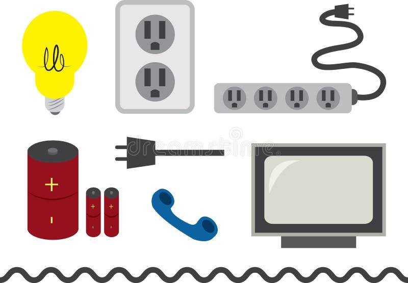 Accesorios eléctricos ilustración del vector