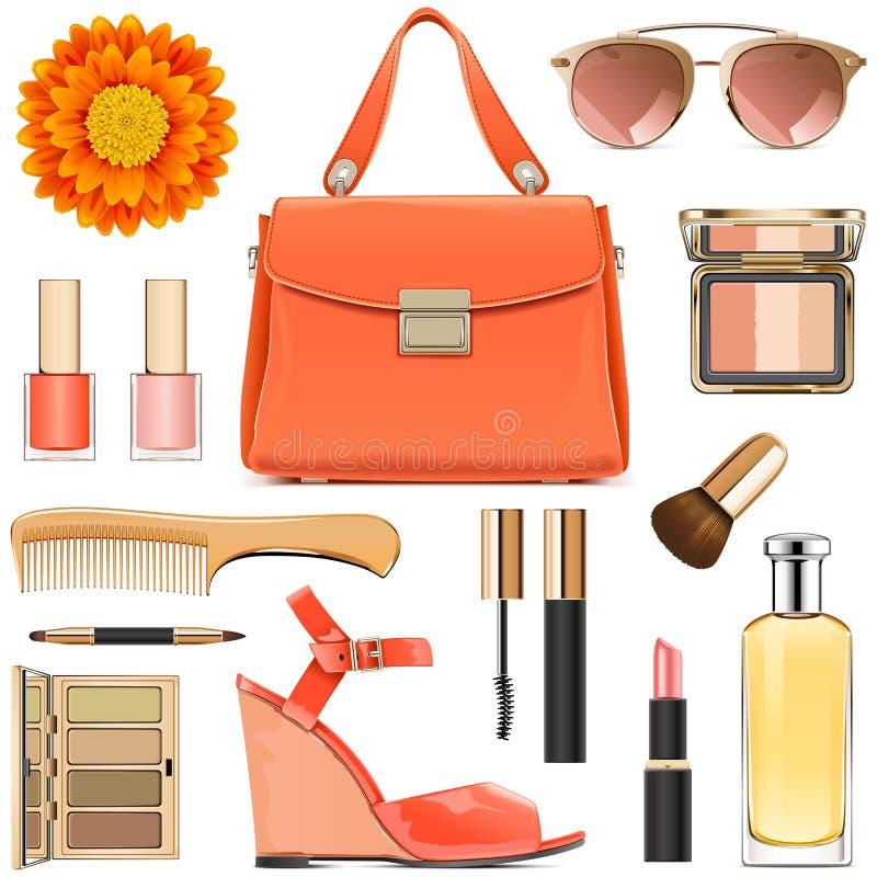 Accesorios femeninos anaranjados del vector libre illustration