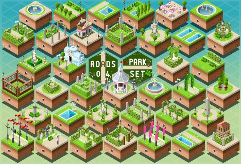 Accesorios isométricos para el sistema verde del parque de la ciudad stock de ilustración
