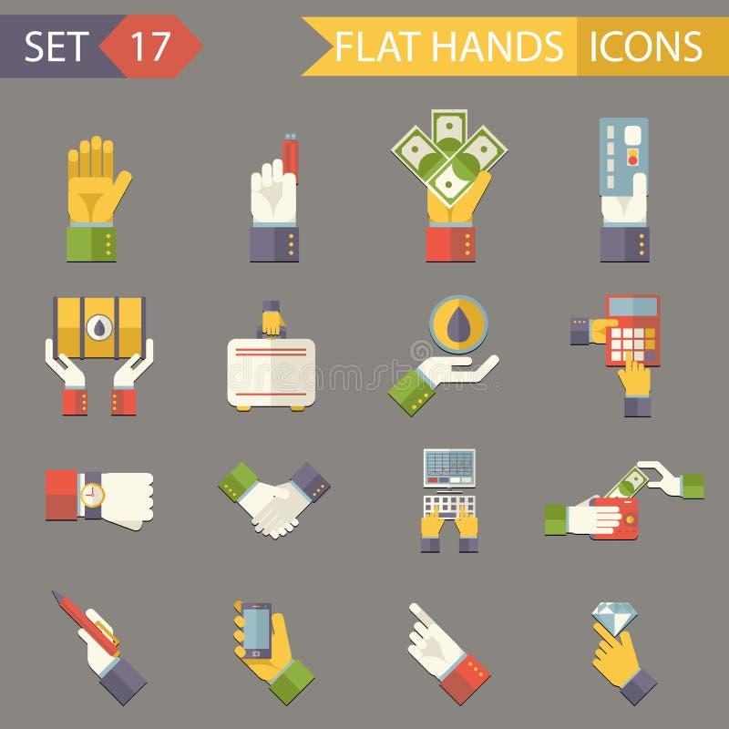 Accesorios retros de las finanzas de los símbolos de las manos del negocio libre illustration
