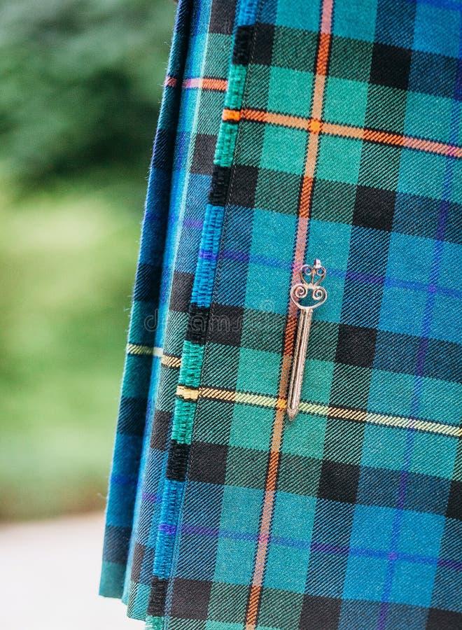 Accesorios tradicionales de la ropa vintage de los hombres escoceses de la falda escocesa fotografía de archivo libre de regalías