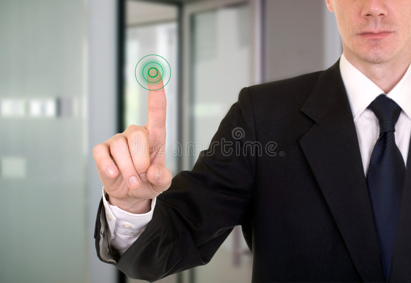 Access. Buisnessman entering the bank or secure data by touch screen stock photos