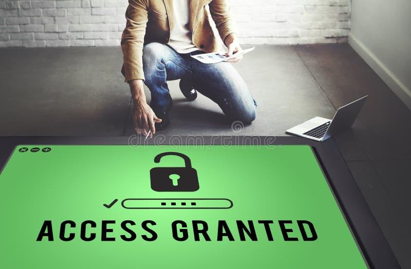 Access a accordé lorsque possibles disponibles ouvrent le concept photographie stock libre de droits
