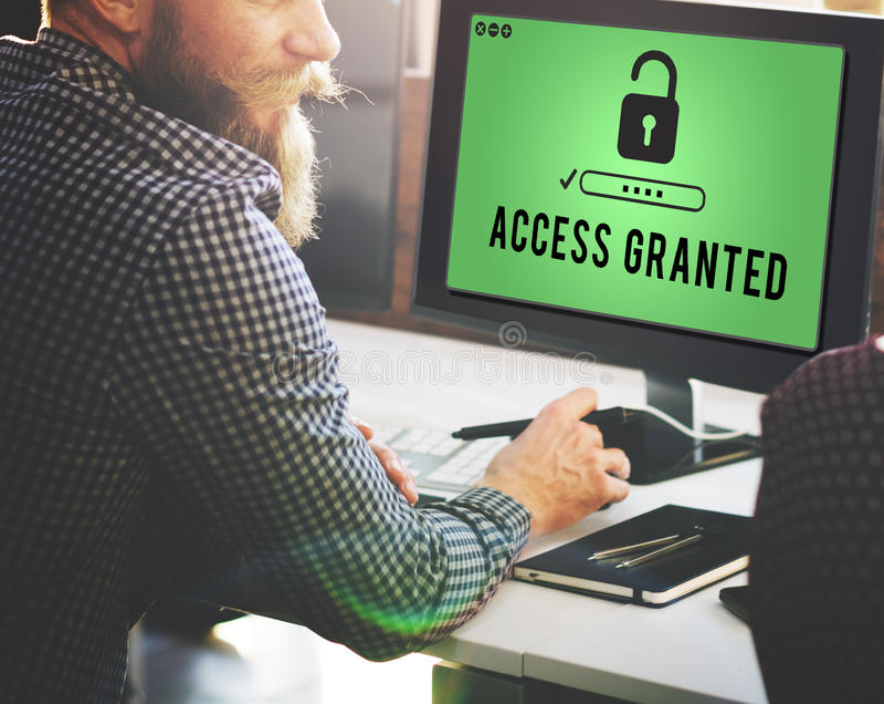 Access a accordé lorsque possibles disponibles ouvrent le concept image libre de droits