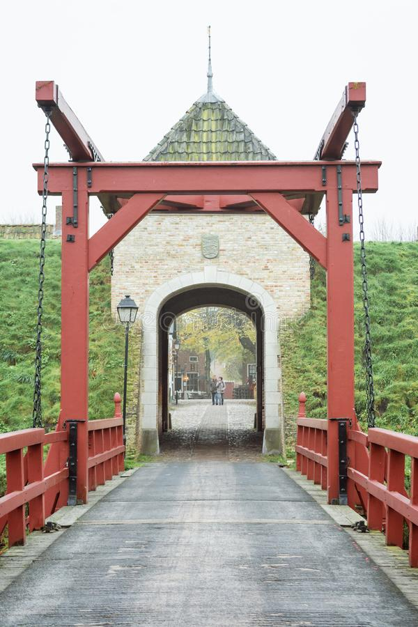 The access bridge to Bourtange, a Dutch fortified village in the royalty free stock photography