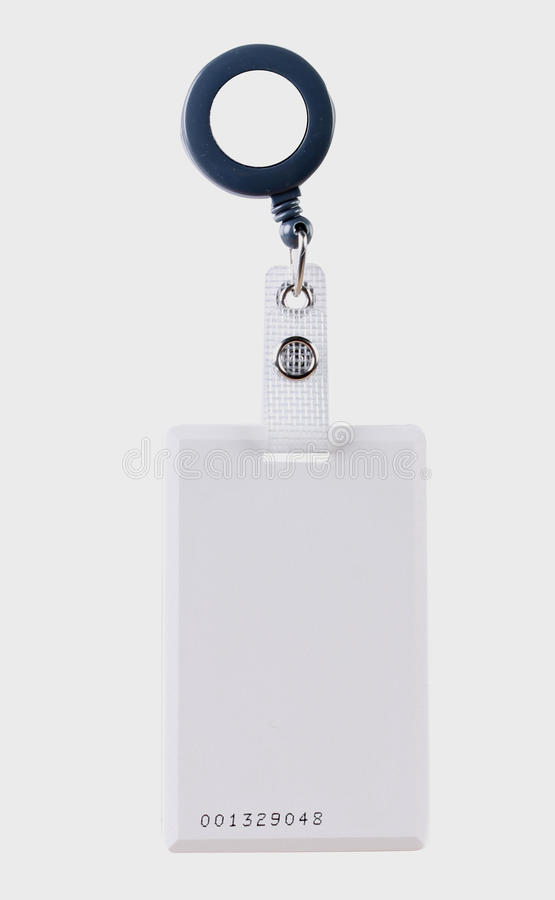 Access card. White access card attached to a retractable reel clip on a white background stock photos