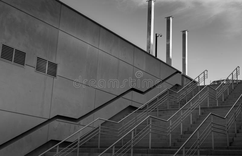 Access by concrete stairs to central district royalty free stock images