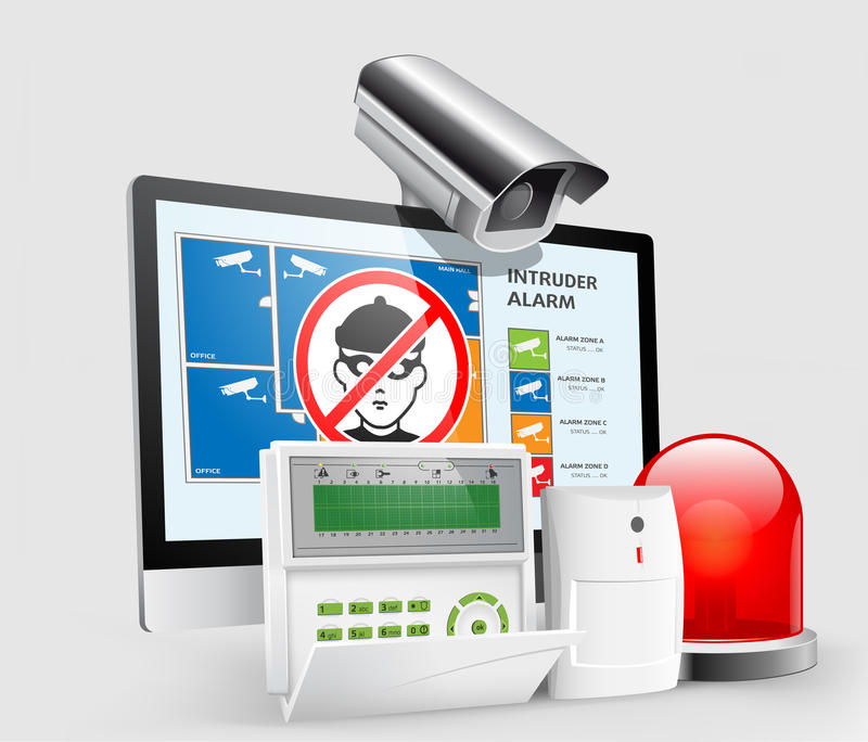 access control alarm zones 3 stock vector image 36255012. Black Bedroom Furniture Sets. Home Design Ideas
