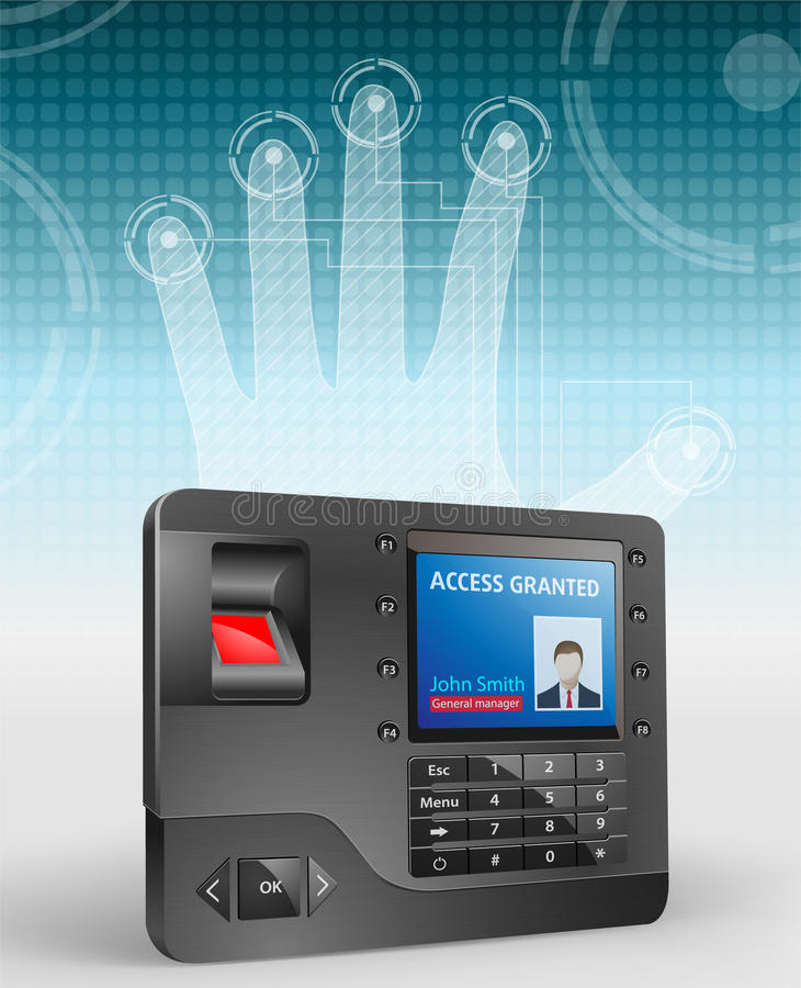 Access control - fingerprint scanner 3 vector illustration