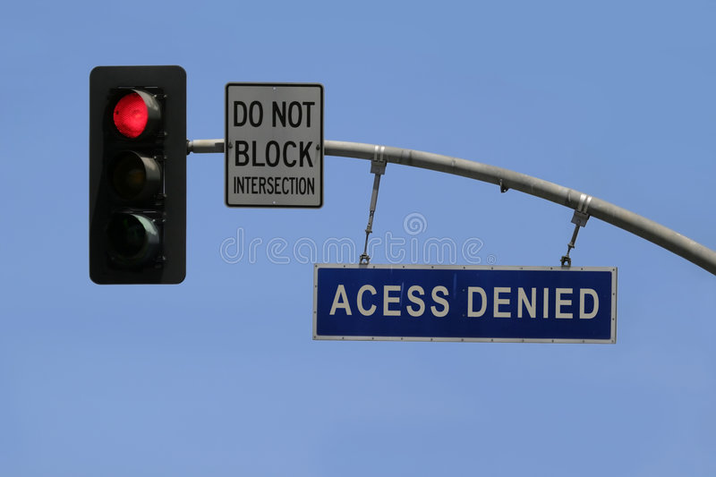Access denied. A traffic sign tells 'access denied royalty free stock photo