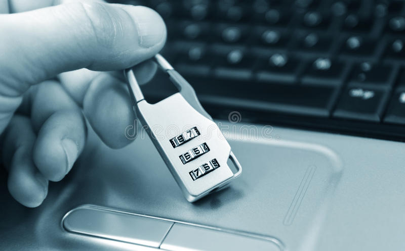 Access denied. Computer access denied concept with hand and ciphered padlock royalty free stock photos