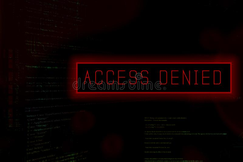 `Access denied` at computer system screen stock illustration