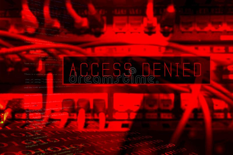 `Access denied` at computer system screen. `Access denied` message on a computer system. No acces is granted royalty free stock photography