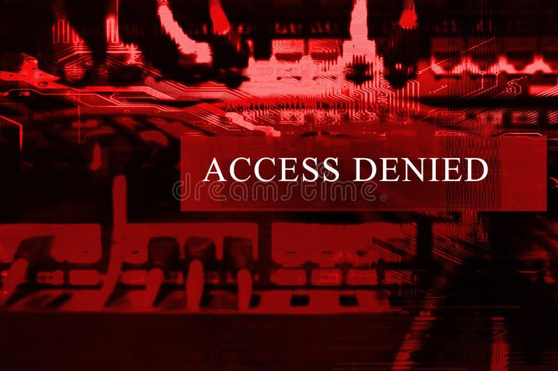 `Access denied` at computer system screen. `Access denied` message on a computer system. No acces is granted royalty free stock photo