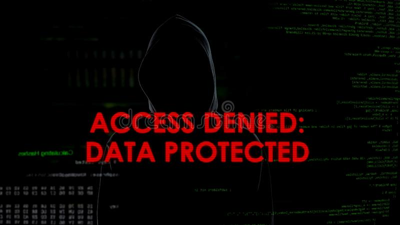 Access denied data protected, unsuccessful hacking attempt on server, failure. Stock photo stock photo