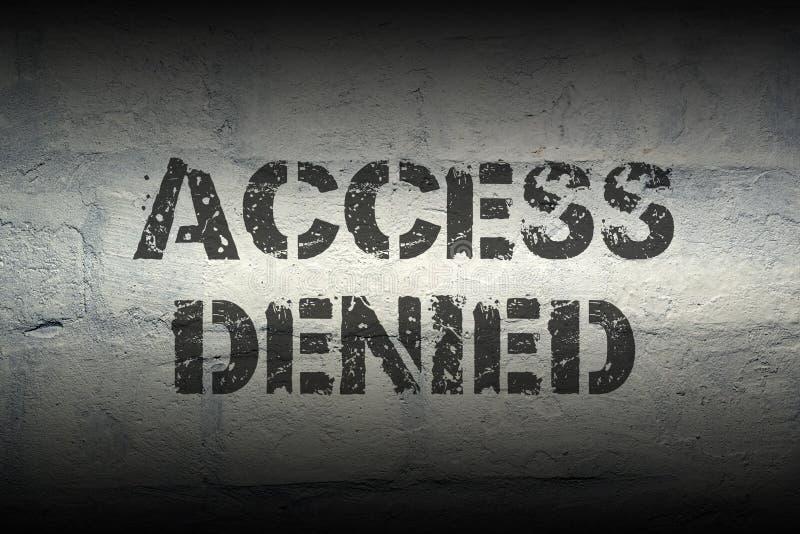 Access denied GR. Access denied black stencil print on the grunge brick wall stock photos