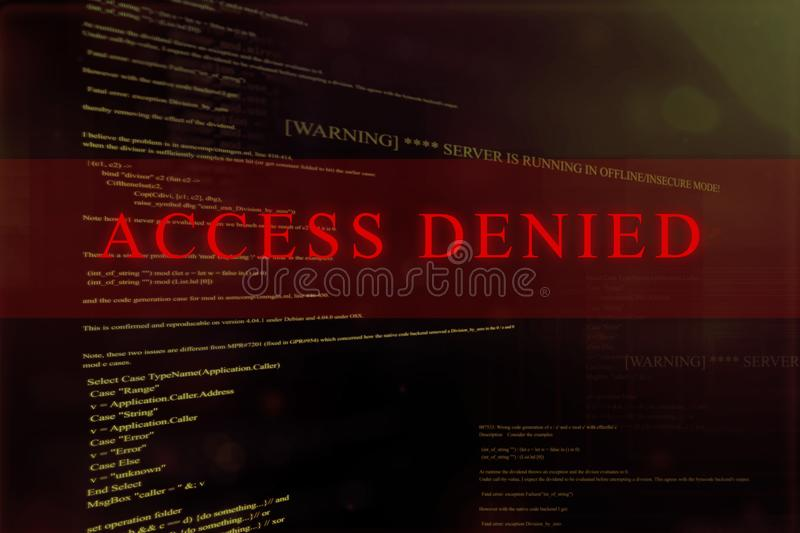 Access Denied` At Computer System Screen Stock Illustration