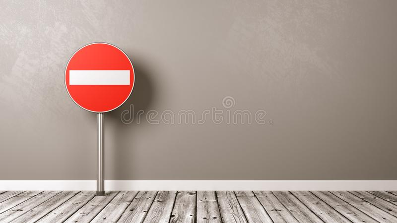 Access Denied Road Sign on Wooden Floor. Against Grey Wall with Copyspace 3D Illustration royalty free illustration