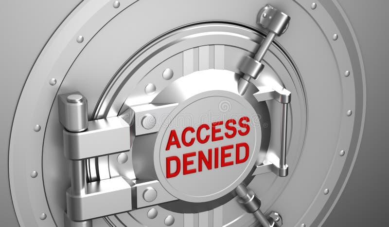 Access denied, safe door of the bank vector illustration