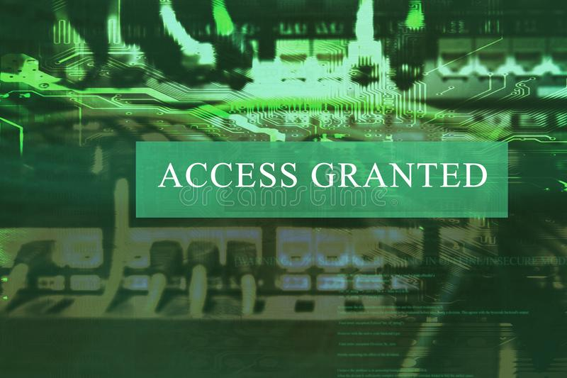 `Access granted` at computer system screen. `Access granted` message on a computer system. The acces is granted stock photography
