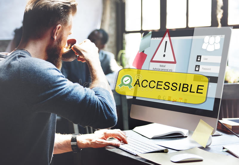 Access ha conceduto affida il concetto assicurato parola d'ordine immagini stock
