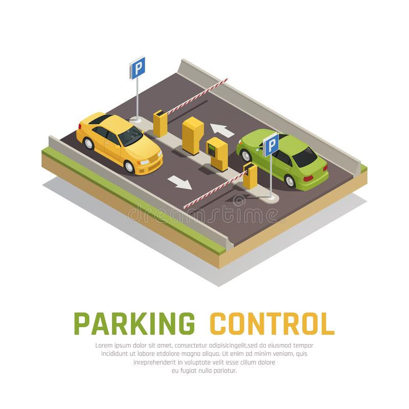 Parking Gate Control Background. Access identification isometric composition with images of closed gate arms and cars with automatic paygate terminals vector stock illustration