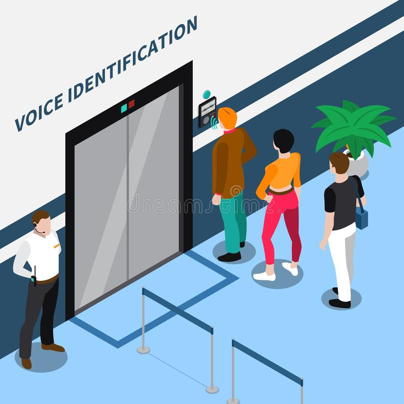 Access Identification Isometric Composition. With people standing before office door equipped with voice recognition device vector illustration royalty free illustration