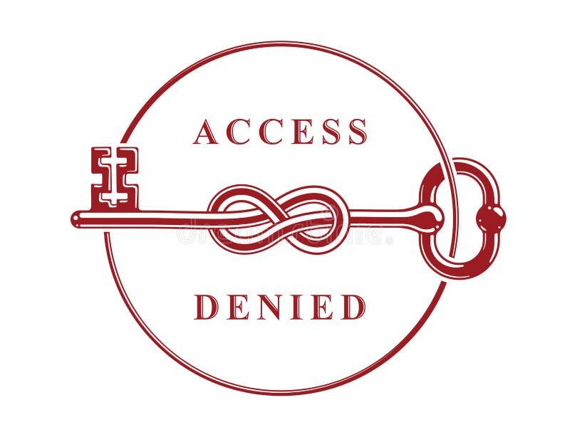 Access a nié, le symbole allégorique principal noué, guichetier antique de cru dans un noeud, compte bloqué, protection des donné illustration libre de droits