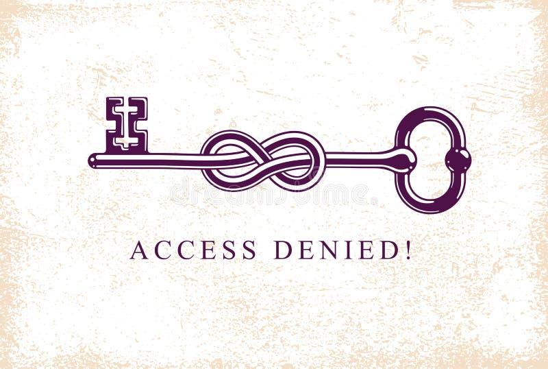 Access a nié, le symbole allégorique principal noué, guichetier antique de cru dans un noeud, compte bloqué, protection des donné illustration de vecteur