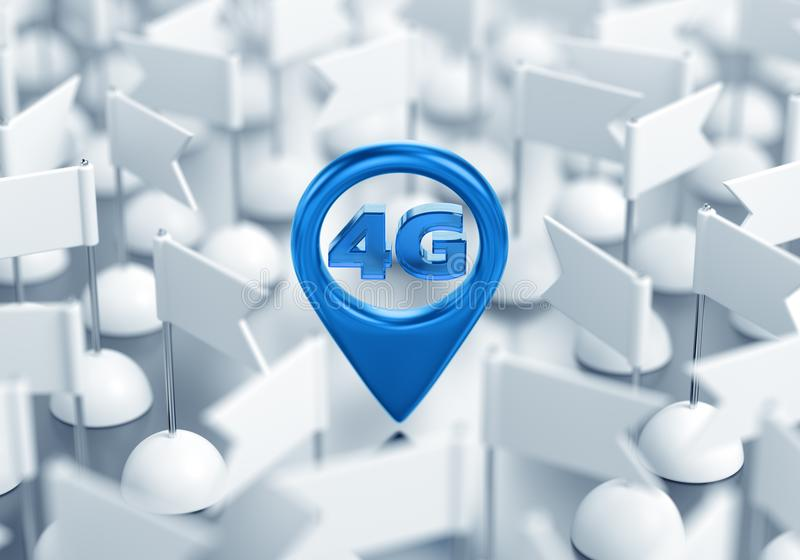 Access Point Location Of 4G Wireless Network royalty free illustration