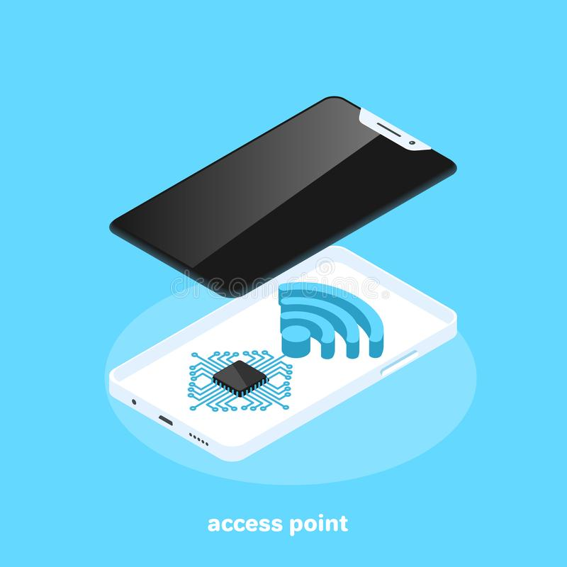 Access point, modern smartphone and wireless icon vector illustration
