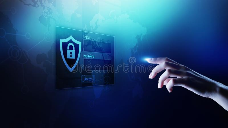Access window with login and password on virtual screen. Cyber security and personal data protection concept. stock photography