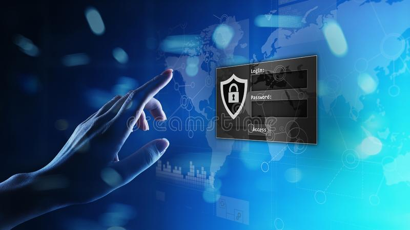 Access window with login and password on virtual screen. Cyber security and personal data protection concept. stock photo