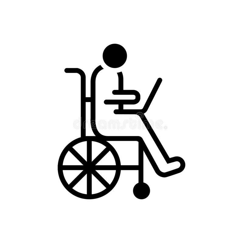 Black solid icon for Accessibility, disability and wheelchair. Black solid icon for Accessibility, accommodation, handicap, physically,  disability and vector illustration