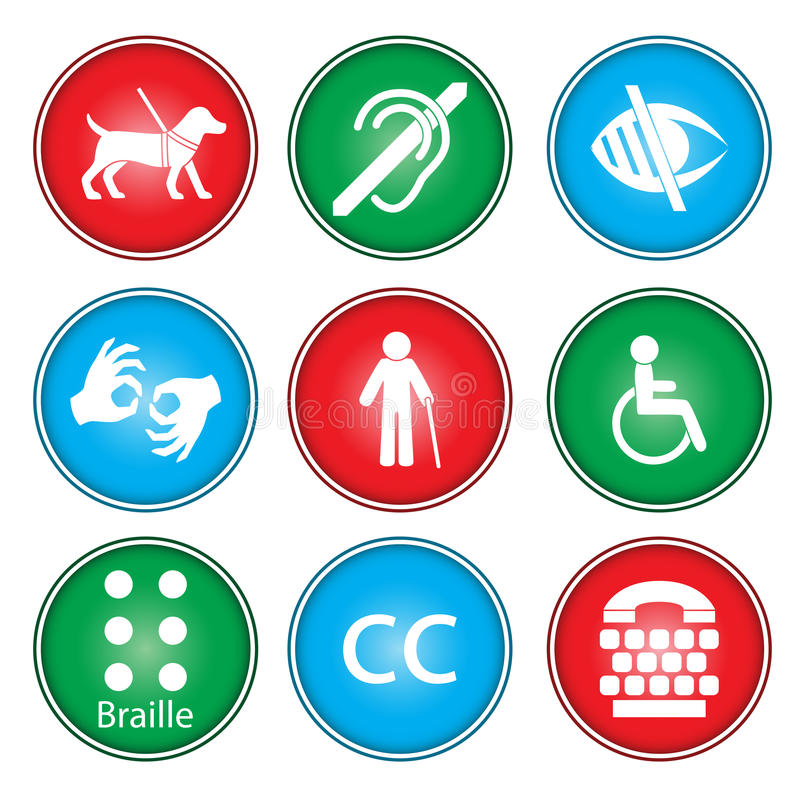 Accessibility icons royalty free illustration