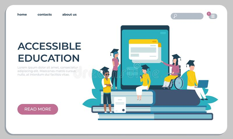 Accessible education website. Online learning for disabled people concept. Vector illustration virtual archive student vector illustration