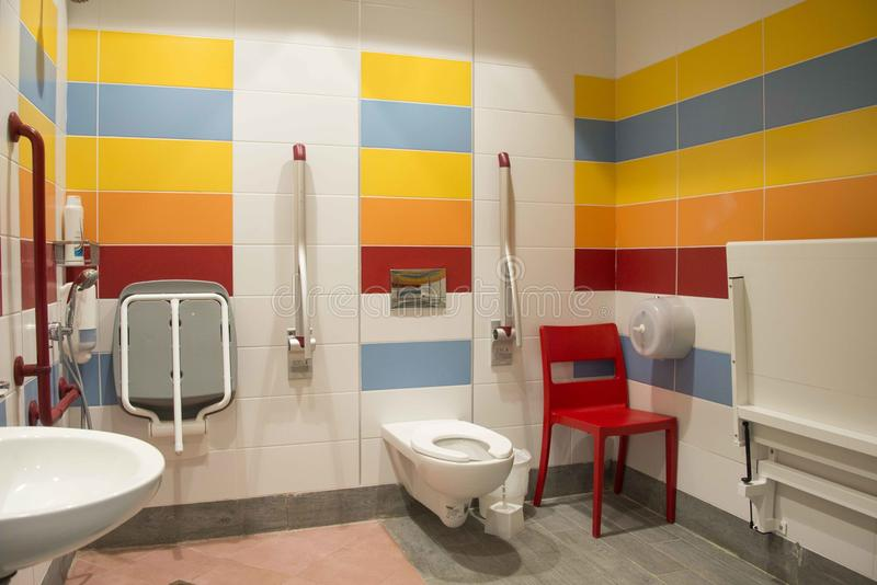 Accessible shower and toilet stock photography
