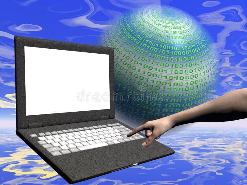 Accesso di Internet, computer portatile illustrazione vettoriale
