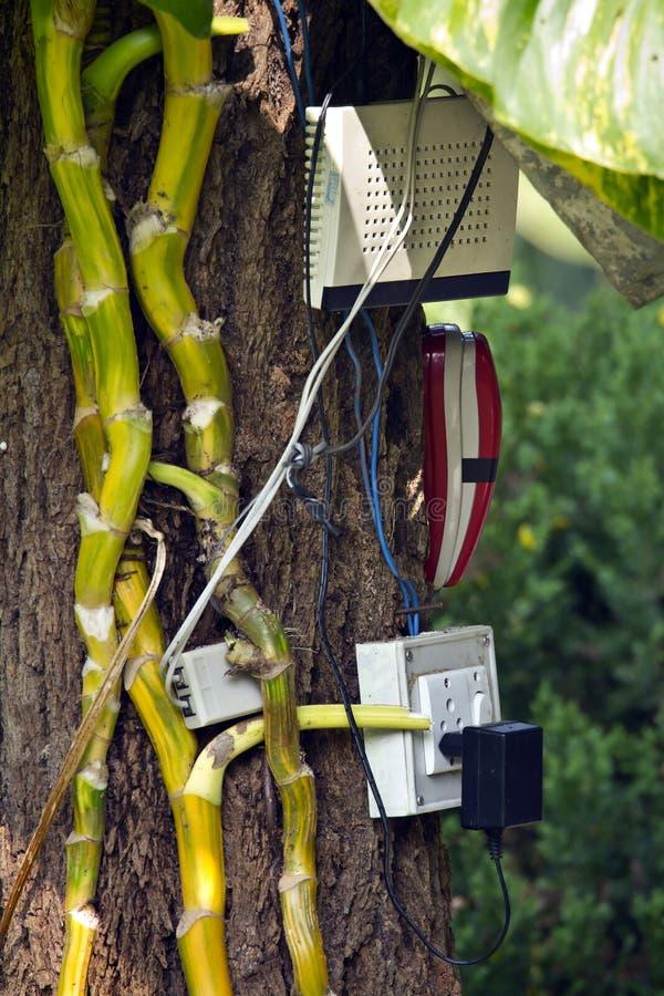Accesso di Wifi nella terza parola, Nepal fotografia stock