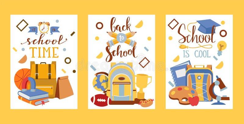 Accessoire d'approvisionnements d'instruction d'éducation de vecteur d'école pour la papeterie éducative de contexte de sac de sa illustration stock