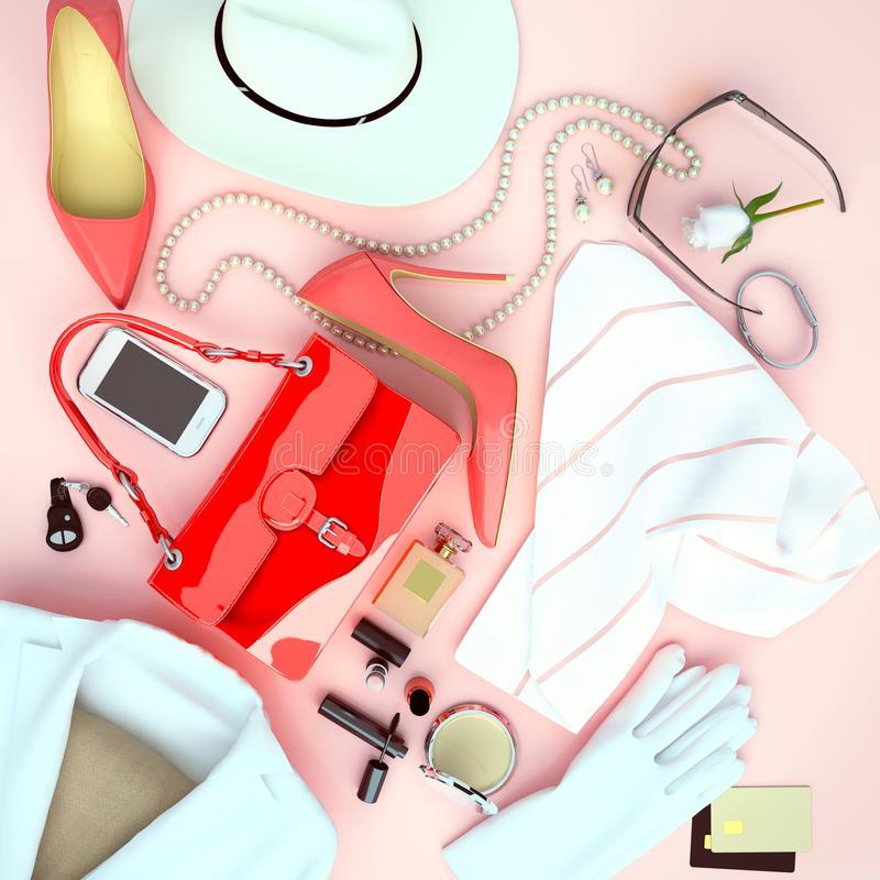 Accessoire de mode du ` s de femmes situé sur un fond rose-clair T photos stock