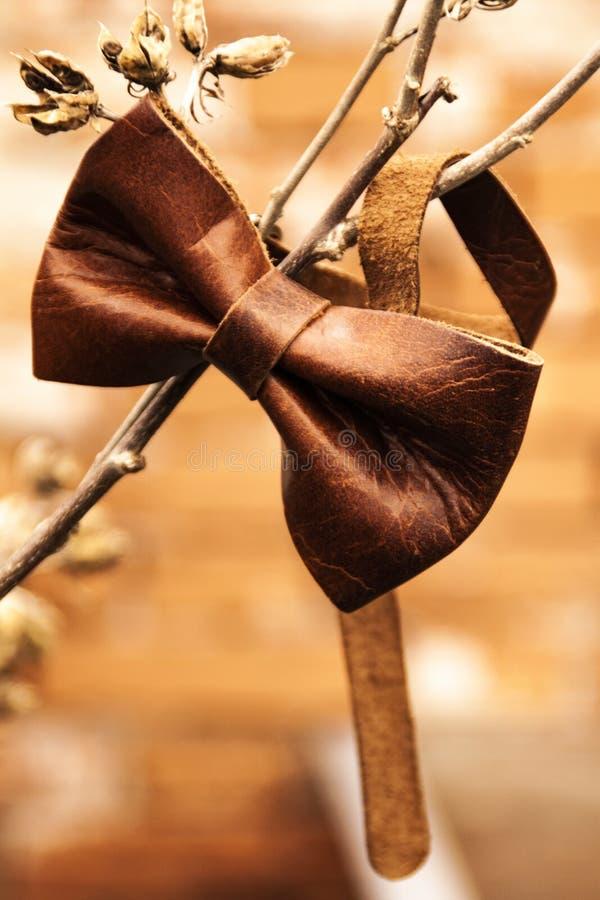 Accessoire de mode - noeud papillon de cuir de Brown images libres de droits