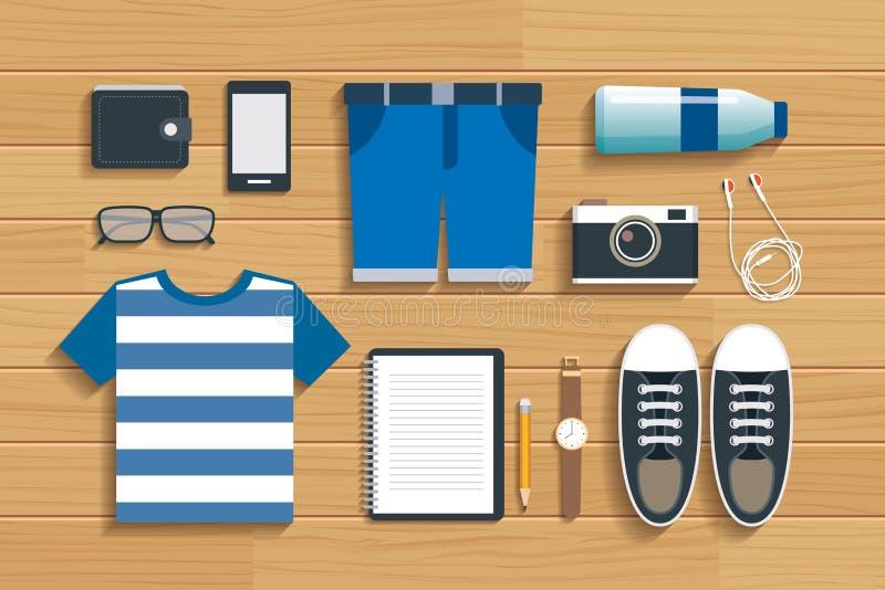 Accessoires adolescents de voyage sur la conception plate en bois illustration libre de droits
