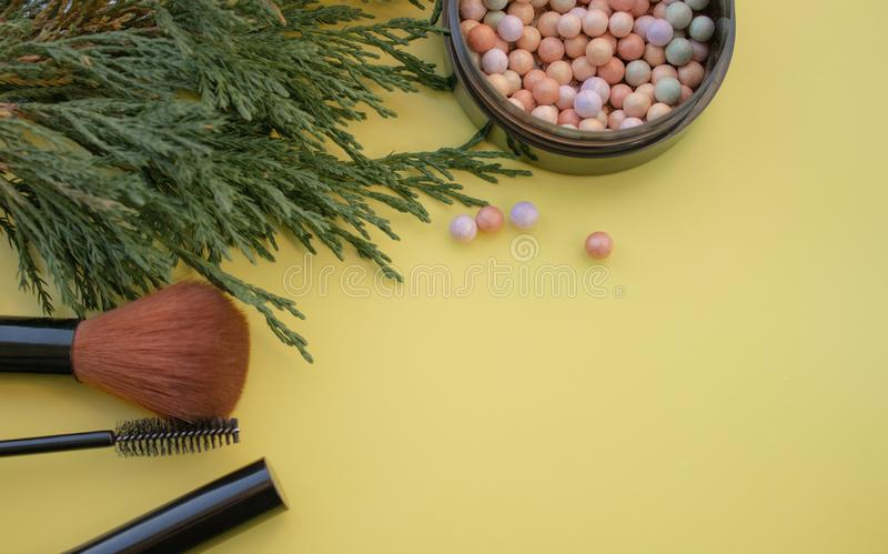 Accessoires cosm?tiques Balayez, rougissez, le rouge ? l?vres, branches vertes sur un fond jaune photographie stock libre de droits