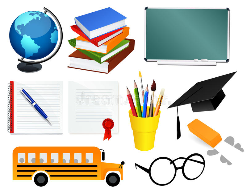 Accessoires d'école illustration de vecteur