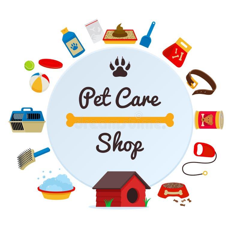 Accessoires d'approvisionnement de soin des animaux familiers et composition ronde décorative en cadre de produits avec le vecteu illustration libre de droits