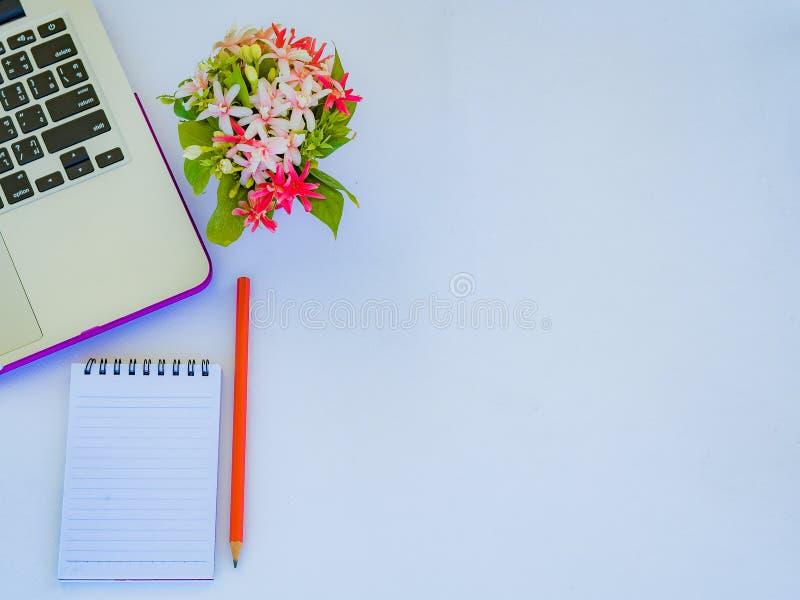 Accessoires de bureau comprenant l'ordinateur portable, le carnet, le crayon rouge, la tasse de café, la calculatrice et la fleur photos libres de droits