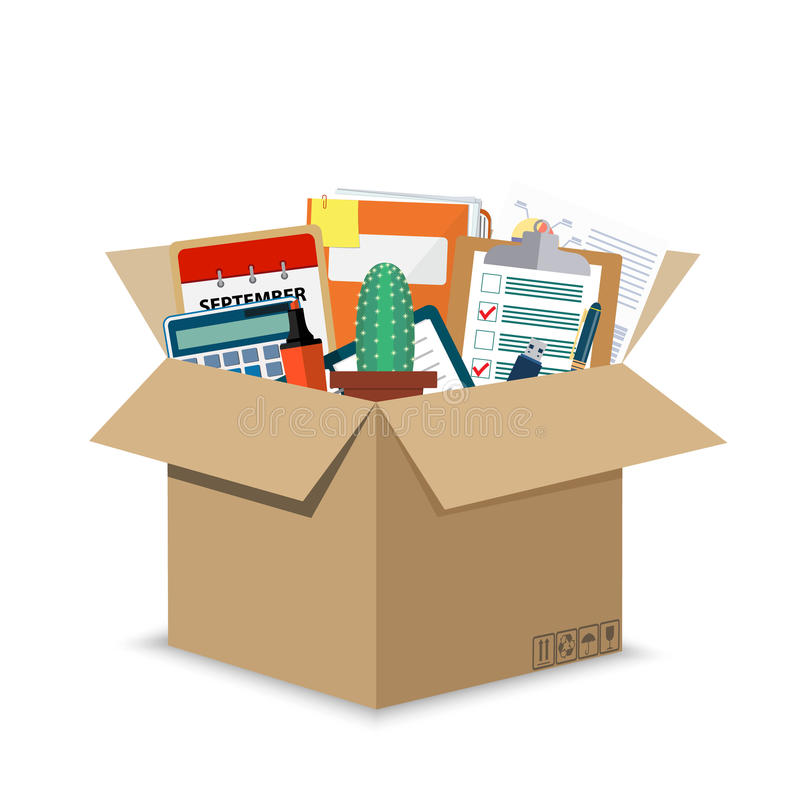 Accessoires de bureau dans une boîte en carton illustration de vecteur