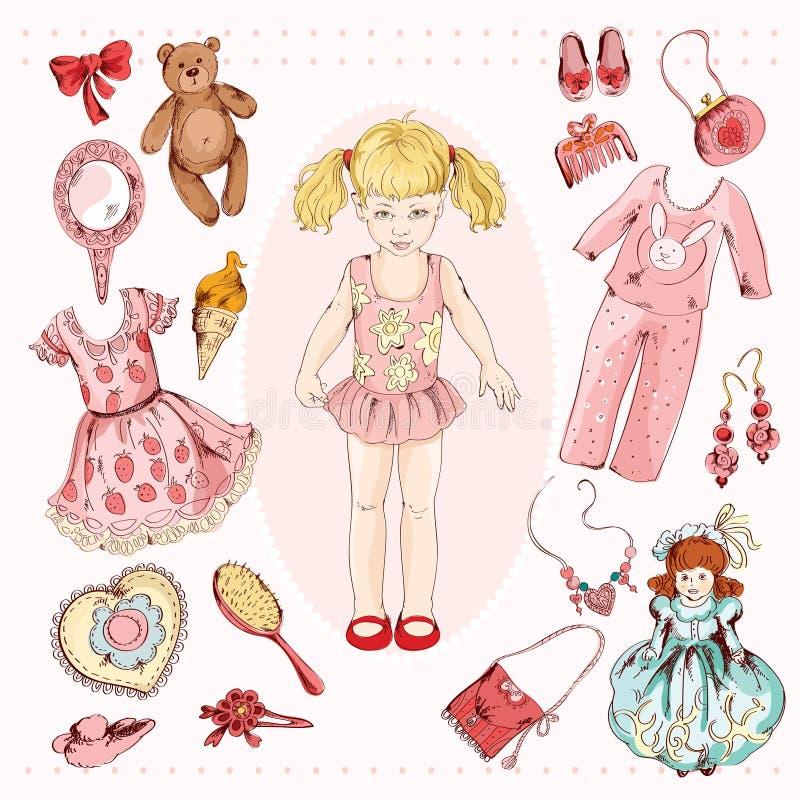 Accessoires de caractère de petite fille réglés illustration de vecteur
